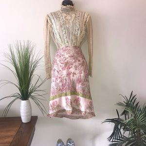 Max Studio Silk Pink & Green Peacock Print Skirt
